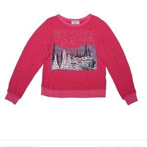 Wildfox Pink Cozy Cabin Winter Snow Sweatshirt